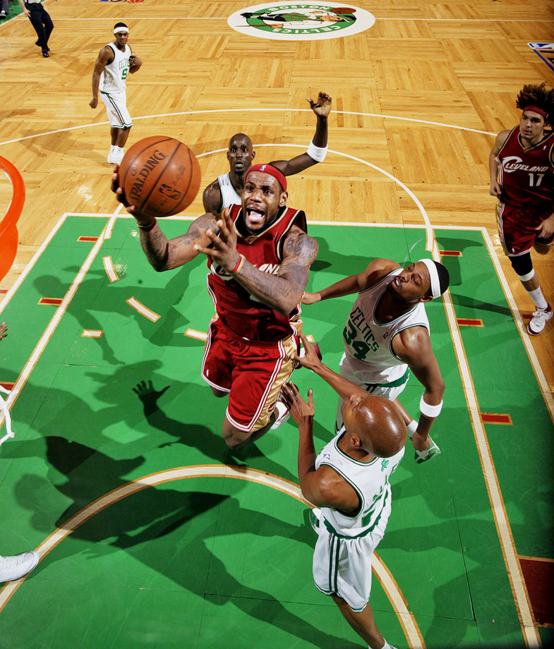 LeBron James scored 45 points and Paul Pierce countered with 41 in a memorable Game 7 duel. Pierce's Celtics edged James' Cavaliers 97-82.