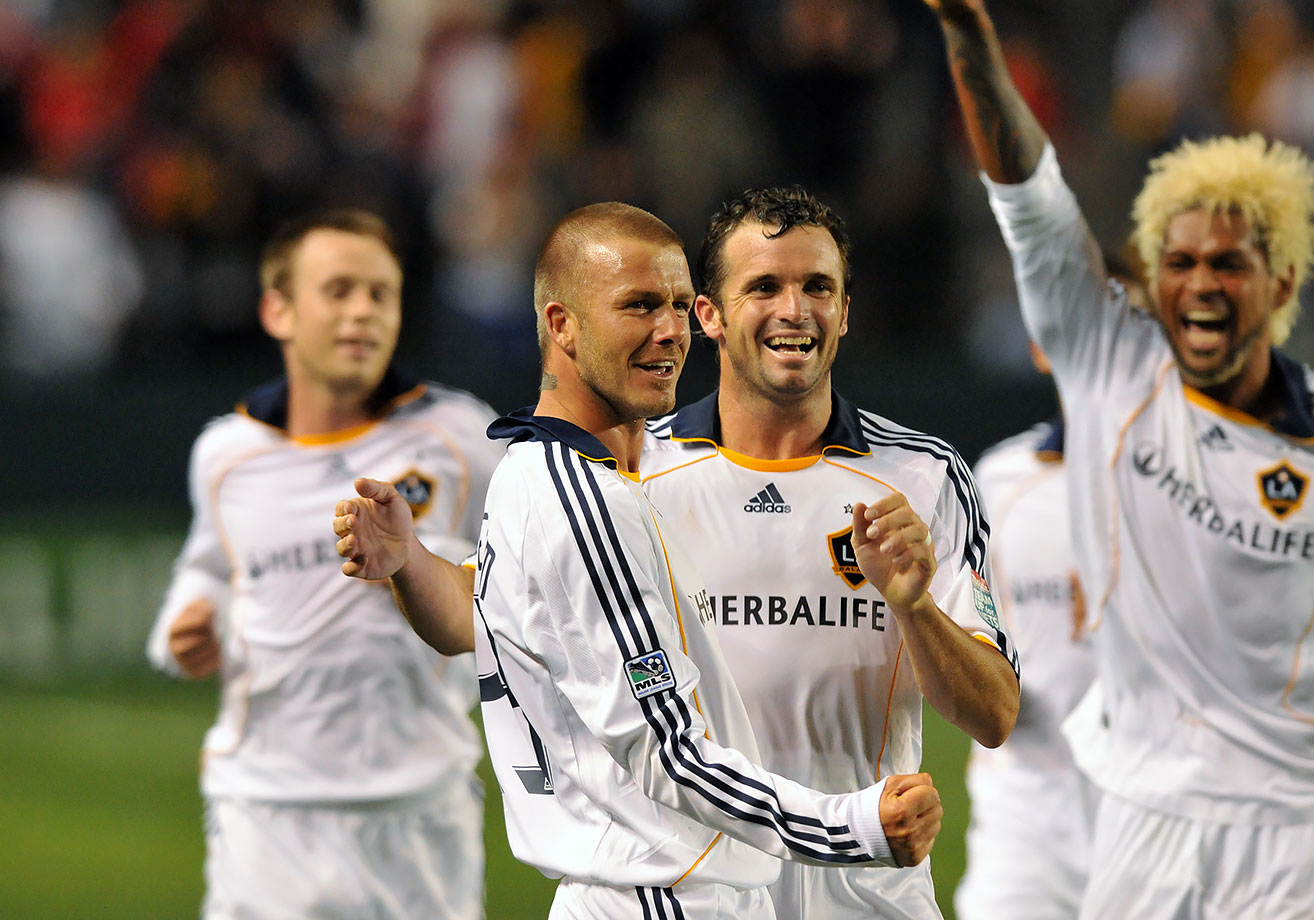 Beckham scored on an empty net from 70 yards out in a game against the Kansas City Wizards in 2008 (his second career goal from his own half). The Galaxy took the game 3-1, pushing them to their first winning record in two years and into first place in the Western Conference.