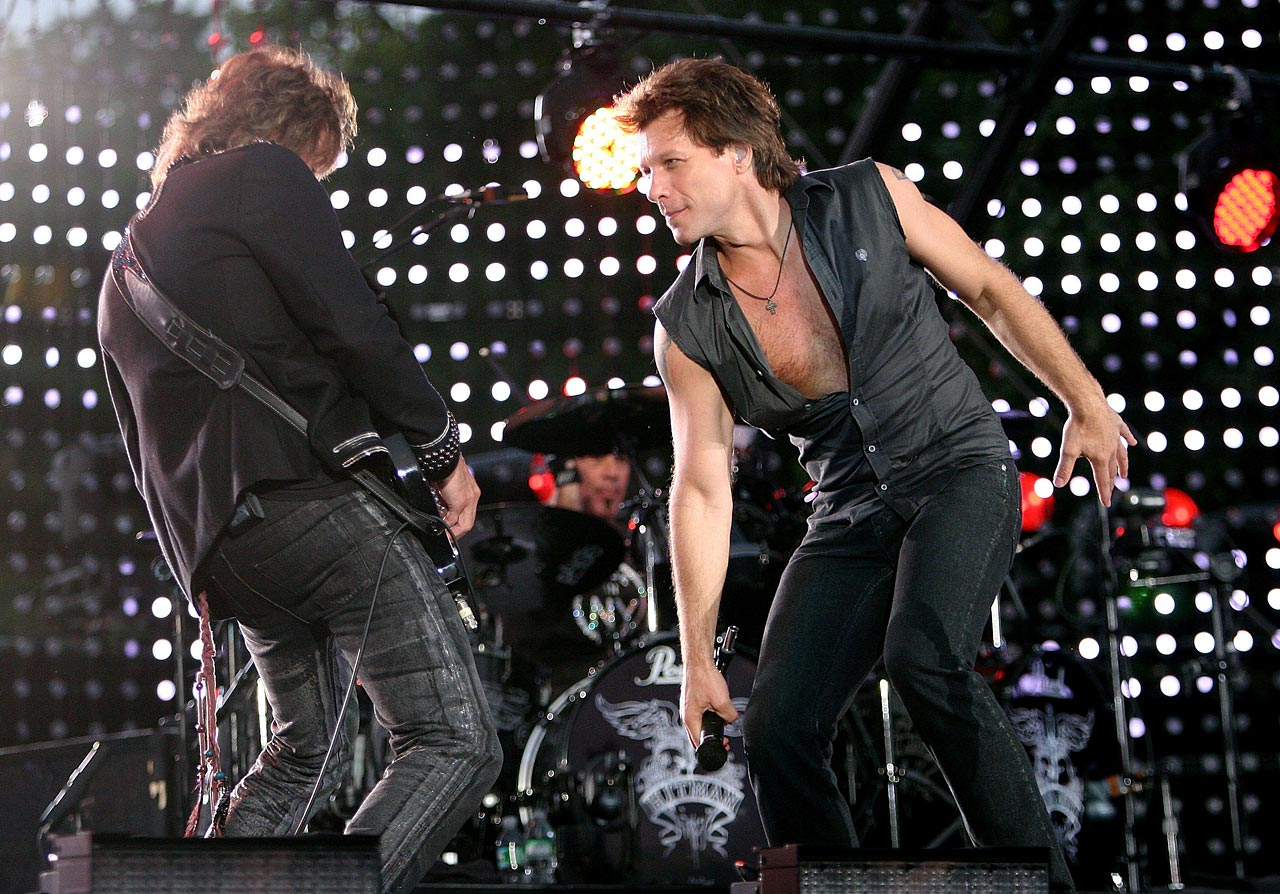 Bon Jovi performs onstage during the Major League Baseball All-Star Concert at The Great Lawn of Central Park in New York City.