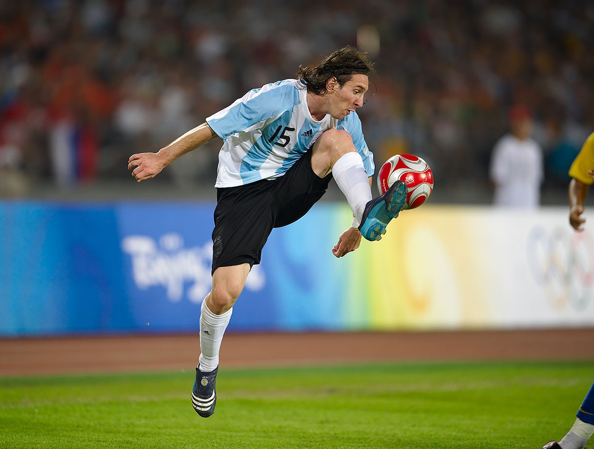 Argentina's Lionel Messi plays the ball during the 2008 Summer Olympics Men's Soccer semifinal against Brazil on Aug. 19, 2008 at Beijing Workers' Stadium in China.