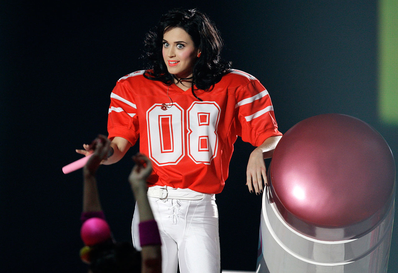 Katy Perry performs in a football jersey at the MTV Europe Music Awards on Nov. 6, 2008 in Liverpool, England.