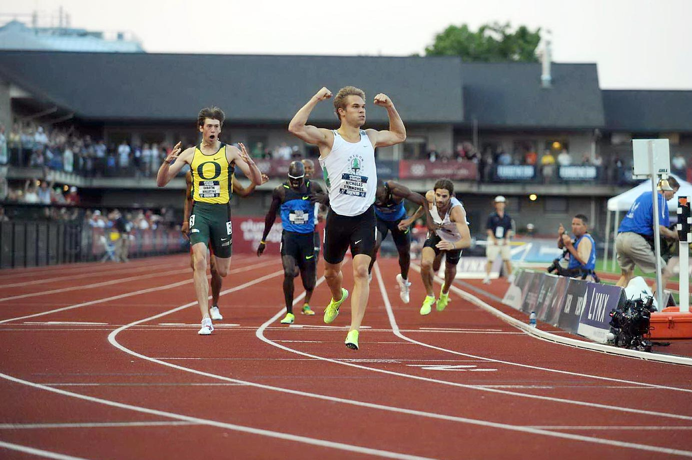 Nicholas Symmonds wins the 800-meter final at the U.S. Olympic trials in 2008.