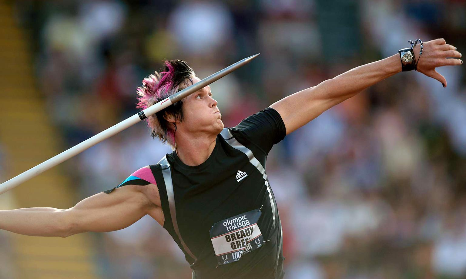 Breaux Greer competes in t he Javelin throw at the 2008 U.S. Team Trials.