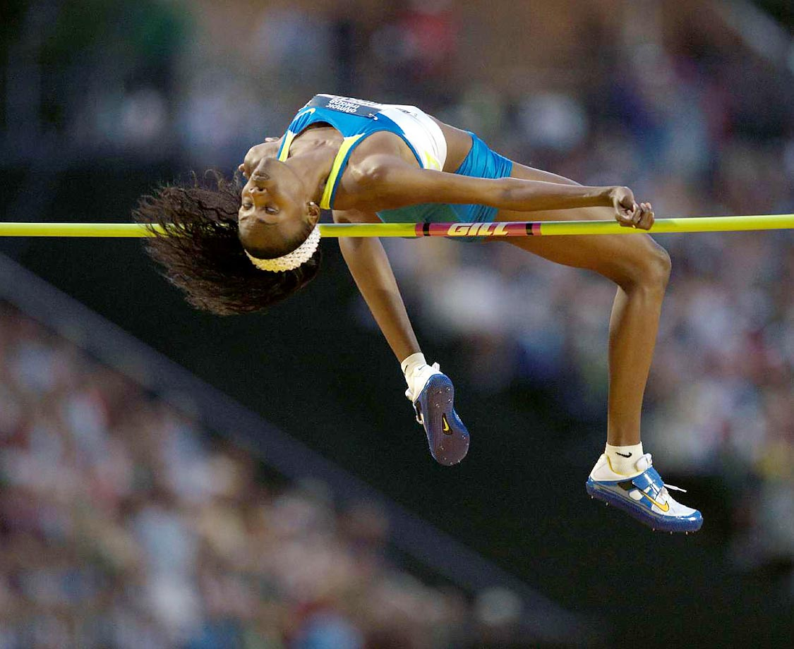 Chaunte Howard competes in the high jump finals at the 2008 U.S. Team Trials.