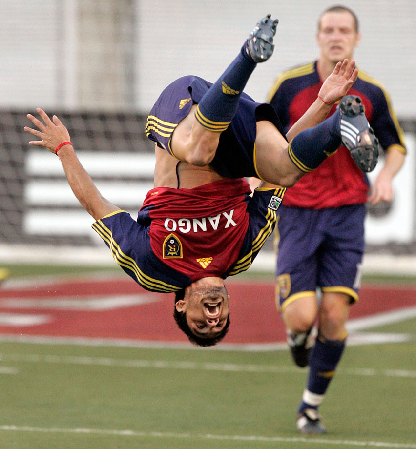 The Real Salt Lake footballer injured his ankle after a celebratory backflip for a goal that was later ruled offside on Sept. 6, 2008.