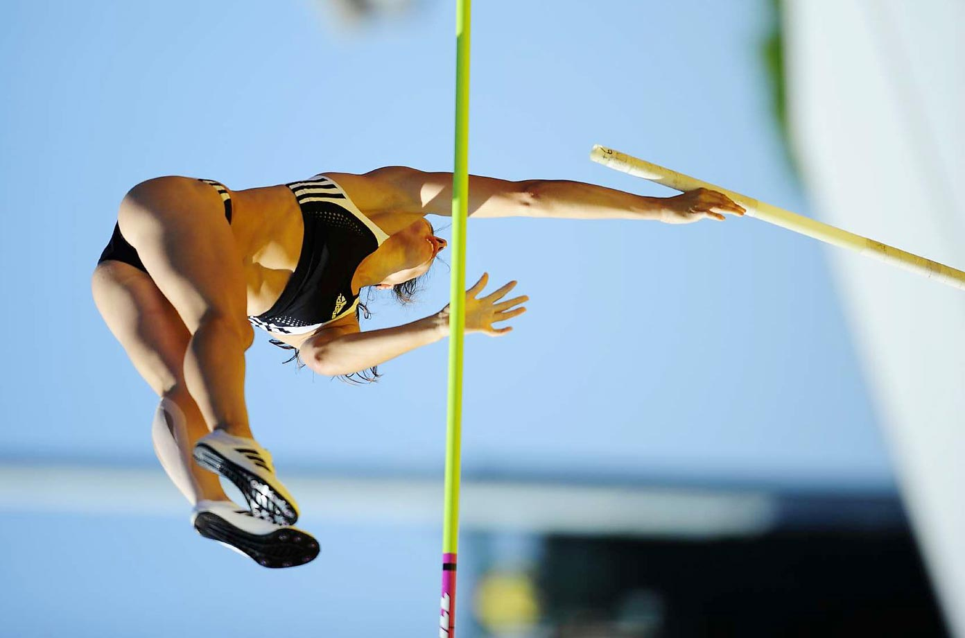 Jennifer Stuczynski in the pole vault final at the 2008 U.S. Team Trials.