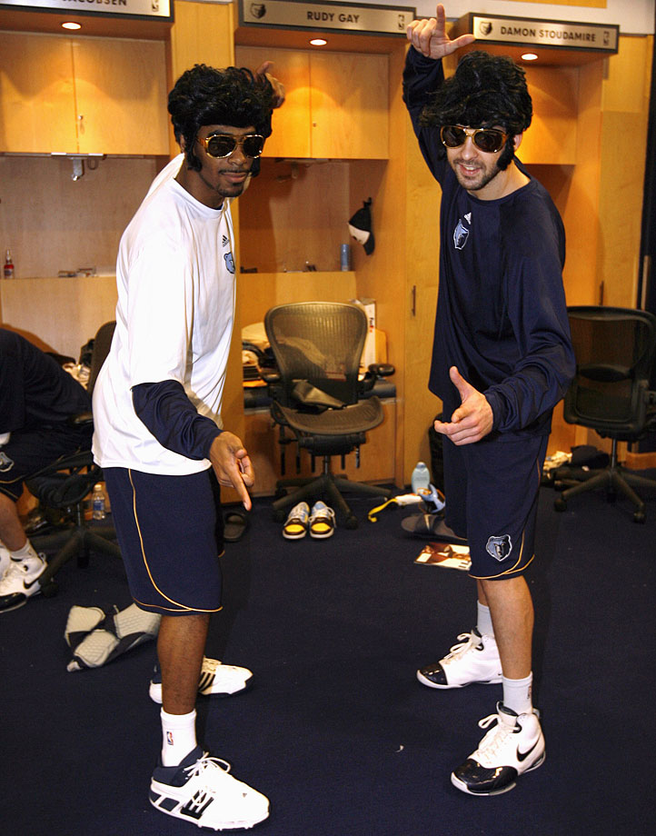 "Grizzlies Michael Conley and Juan Carlos Navarro pose wearing Elvis Presley wigs and sunglasses in honor of the Memphis Grizzlies ""Elvis Night"" prior to their game against the Los Angeles Lakers at the FedExForum on Jan. 8, 2008."