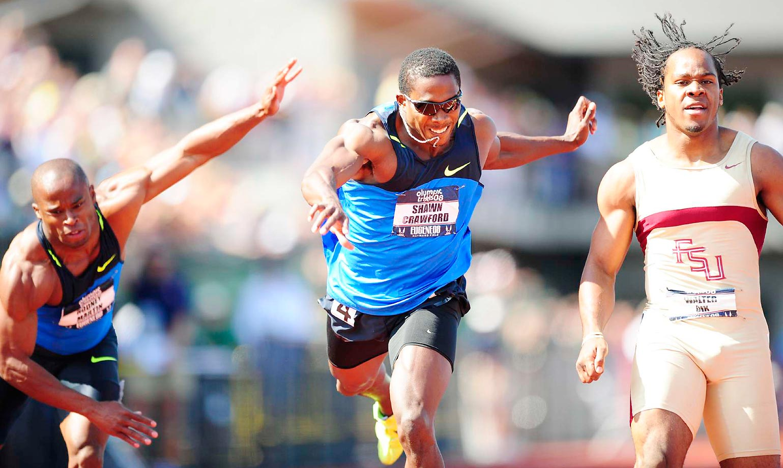 The 200-meter final at the 2008 U.S. Team Trials included Shawn Crawford and Walter Dix.