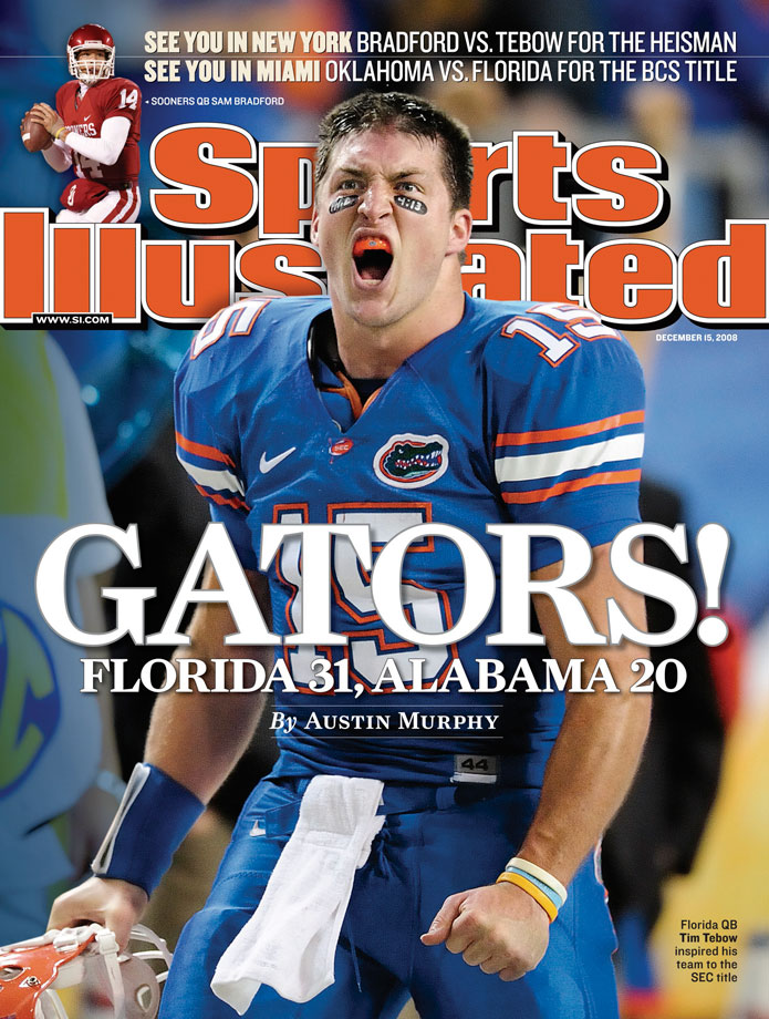 Tim Tebow and his teammates celebrate a victory over Alabama in the SEC Championship game. Tebow's Gators won SEC Championships in 2006 and 2008.