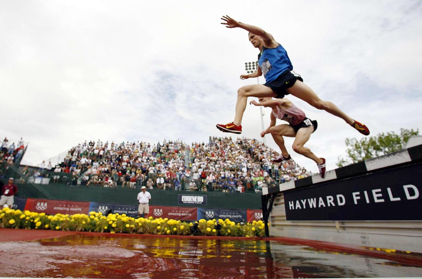 William Nelson and Joshua McAdams during the 3,000-meter Steeplechase at the 2008 U.S. Team Trials.