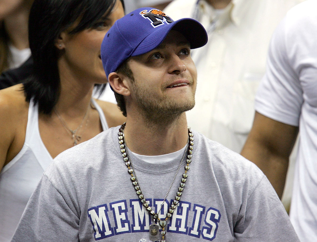 Justin Timberlake watches the Memphis Tigers play the Kansas Jayhawks during the NCAA Men's National Championship game at the Alamodome in San Antonio on April 7, 2008.