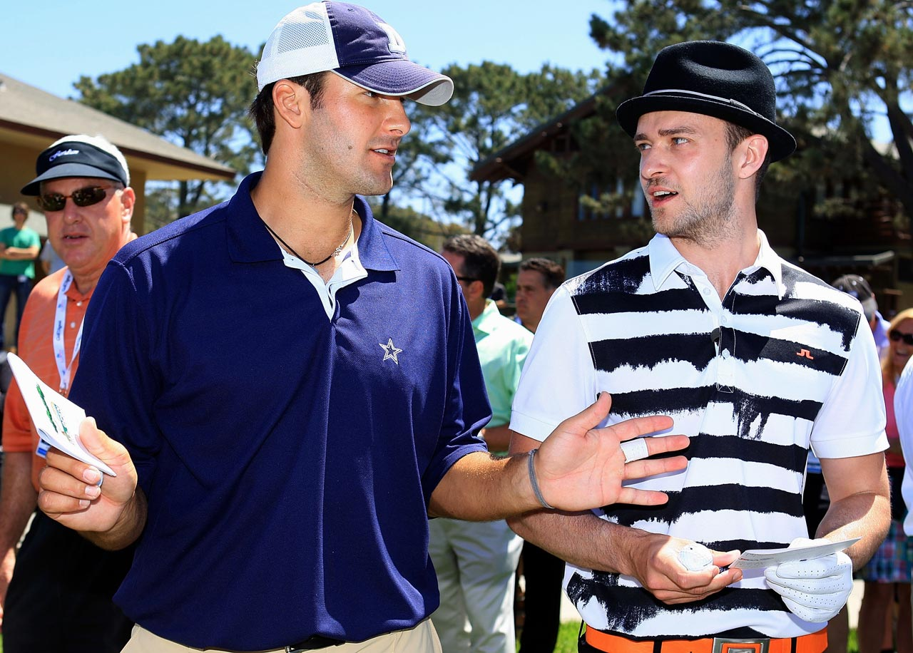 Tony Romo and Justin Timberlake wait on the first tee during the Golf Digest U.S. Open Challenge at the Torrey Pines Golf Course in La Jolla, Calif., on June 6, 2008.