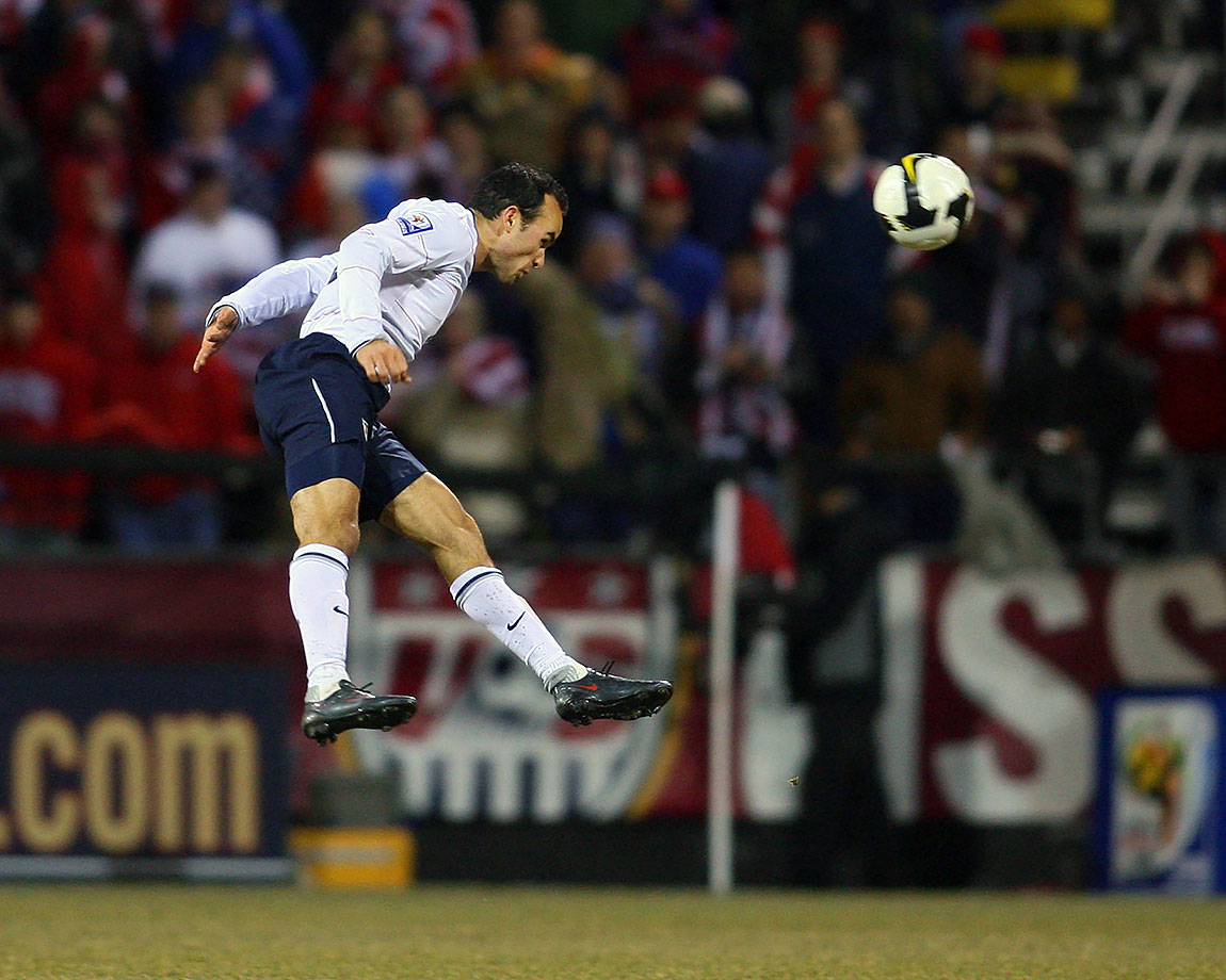 Landon Donovan heads the ball against Mexico during a 2010 World Cup qualifying match at Crew Stadium in Columbus, Ohio. The U.S. won, 2-0.
