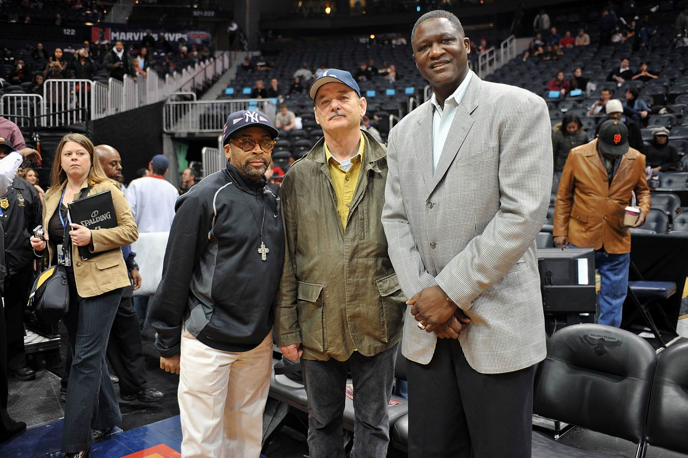 Spike Lee, Bill Murray and Dominique Wilkins pose together during the Atlanta Hawks game against the Cleveland Cavaliers on March 1, 2009 at Philips Arena in Atlanta.