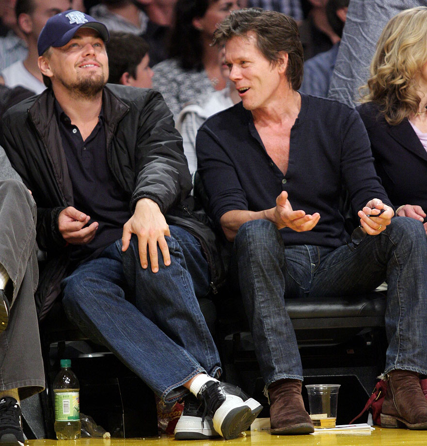 Leonardo DiCaprio and Kevin Bacon attend Game 5 of the Western Conference Semifinals between the Los Angeles Lakers and Houston Rockets at Staples Center in Los Angeles.