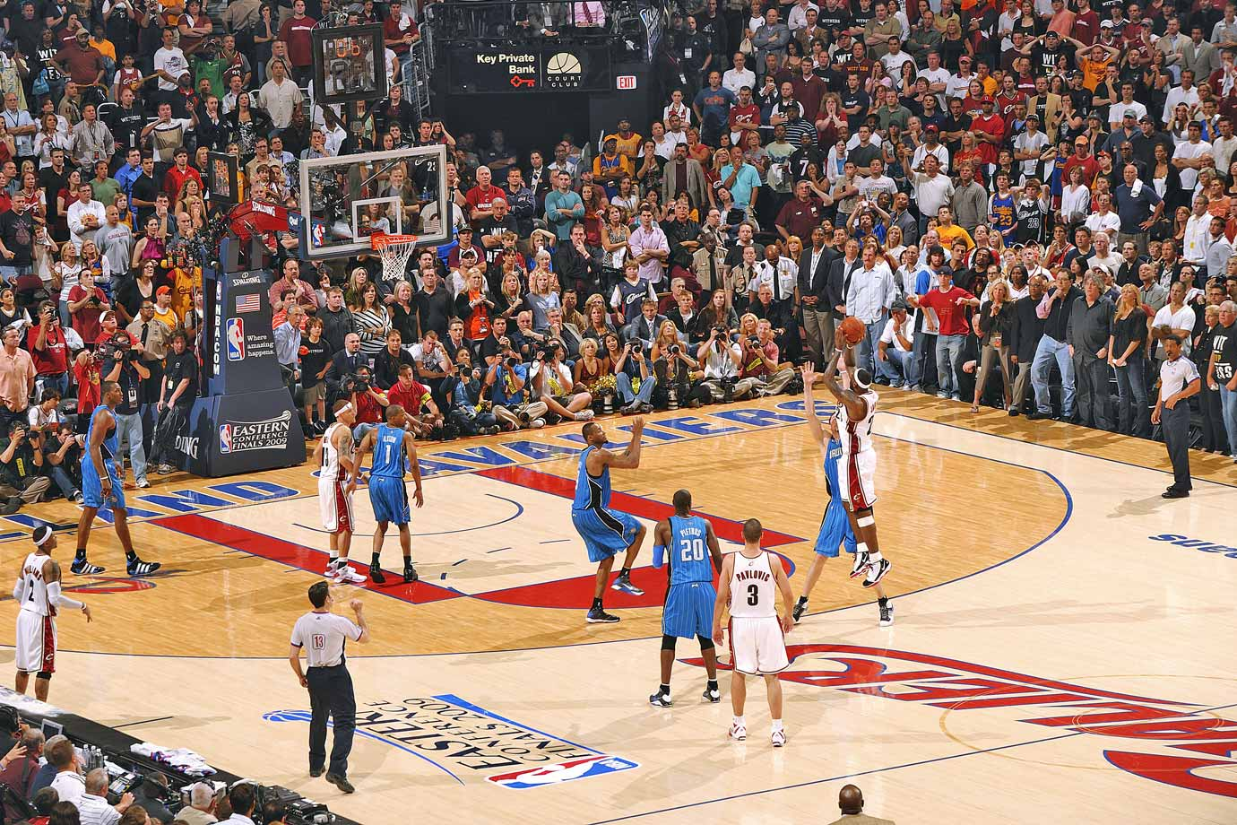 This game will be remembered for having the signature shot of LeBron James' career: a buzzer-beating, game-winning three-pointer to punctuate his 35-point effort and even the series at 1-1 as the Cavs defeated the Magic 96-95.