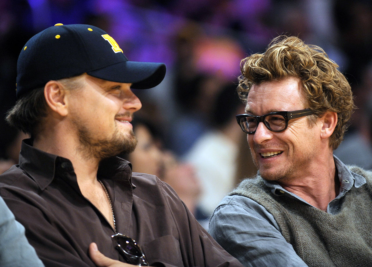 Leonardo DiCaprio and Simon Baker attend Game 2 of the NBA Finals between the Los Angeles Lakers and Orlando Magic at Staples Center in Los Angeles.