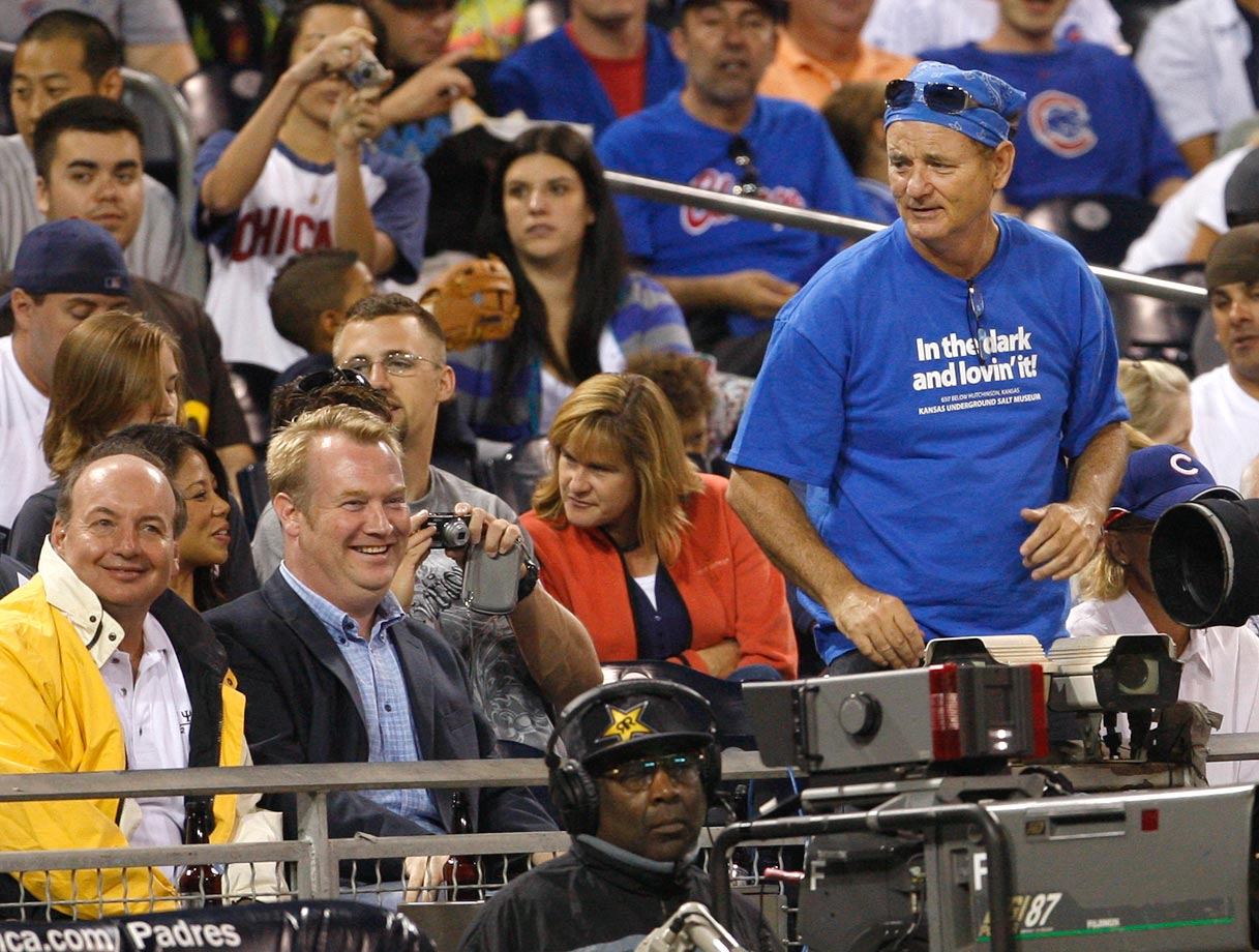 Bill Murray is on his feet as he urges on the Chicago Cubs during their game against the San Diego Padres on Aug. 19, 2009 at Petco Park in San Diego.
