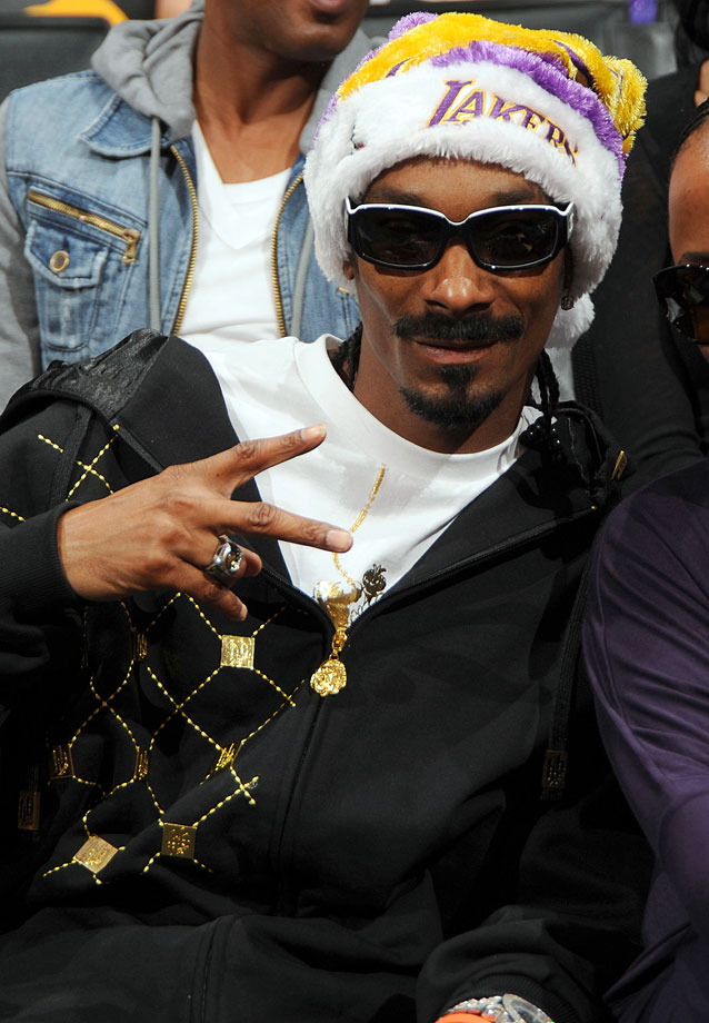 Snoop Dogg attends the Los Angeles Lakers game against the Cleveland Cavaliers on Dec. 25, 2009 at Staples Center in Los Angeles.