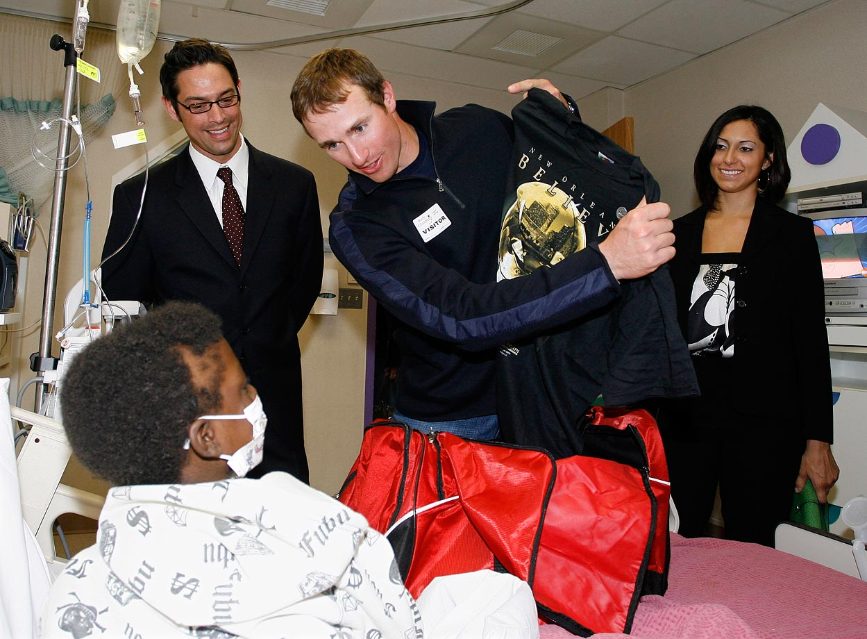 "An influential figure in both San Diego and New Orleans, Brees doles out inspirational Saints' shirts at Rady's Children's Hospital during an event in April 2008. The event benefited the Brees Dream Foundation, which was founded in 2003 to ""advance research in the fight against Cancer and provide care, education and opportunities to children in need,"" according to its official website."