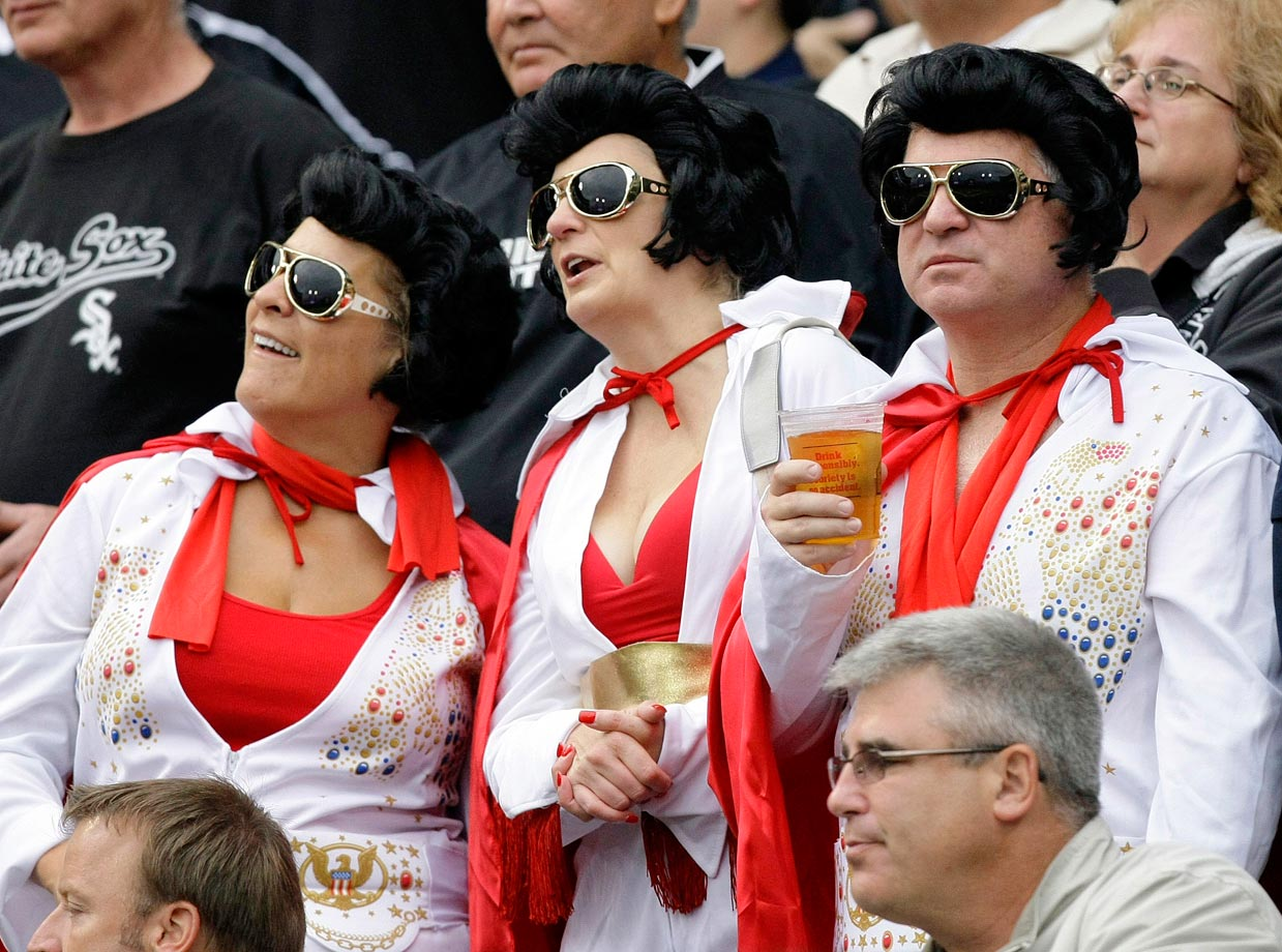 Elvis fans attend the Chicago White Sox and Baltimore Orioles game at U.S. Cellular Field in Chicago on Aug. 21, 2009.