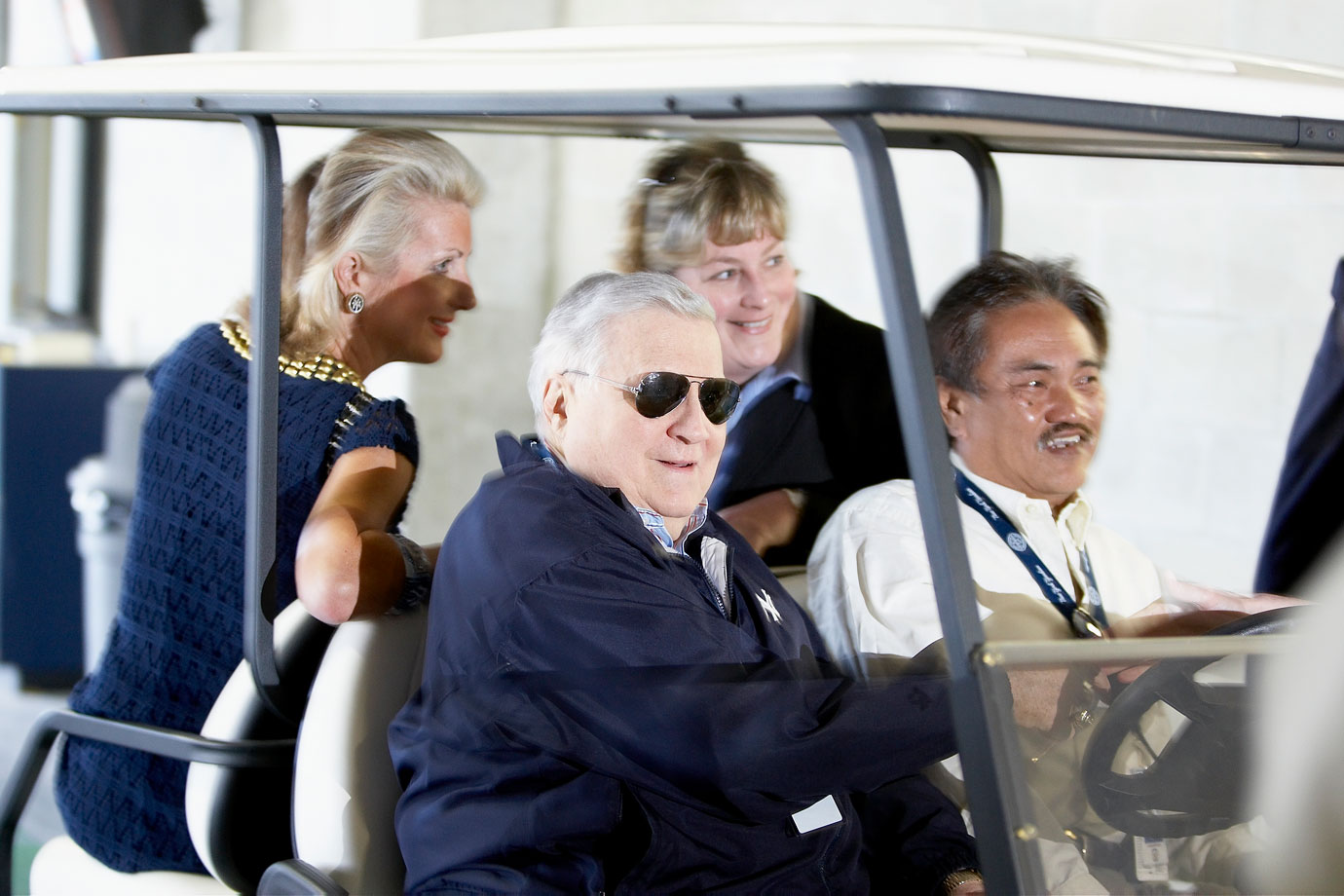 George Steinbrenner smiles while riding in a golf cart during a New York Yankees spring training game against the Tampa Bay Rays on Feb. 26, 2009 at Steinbrenner Field in Tampa, Fla.