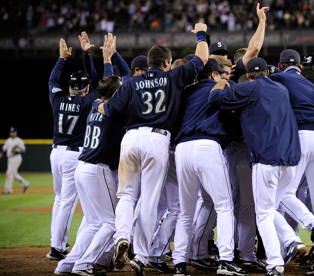 The Mariners' catcher sprained his ankle while celebrating teammate Ichiro Suzuki's walk-off home run on Sept 18, 2009.