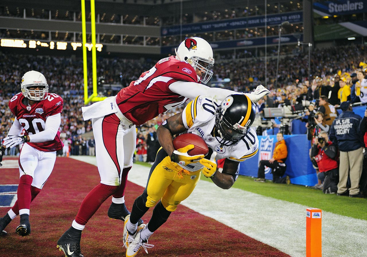Wideout Santonio Holmes's leaping touchdown grab with 42 seconds remaining gave the Steelers a 27-23 win over the Cardinals in Super Bowl XLIII.