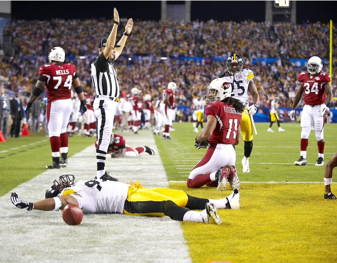 An exhausted James Harrison didn't have the energy to do anything else after returning an interception 100 yards for a score to end the first half of Pittsburgh's victory over Arizona.