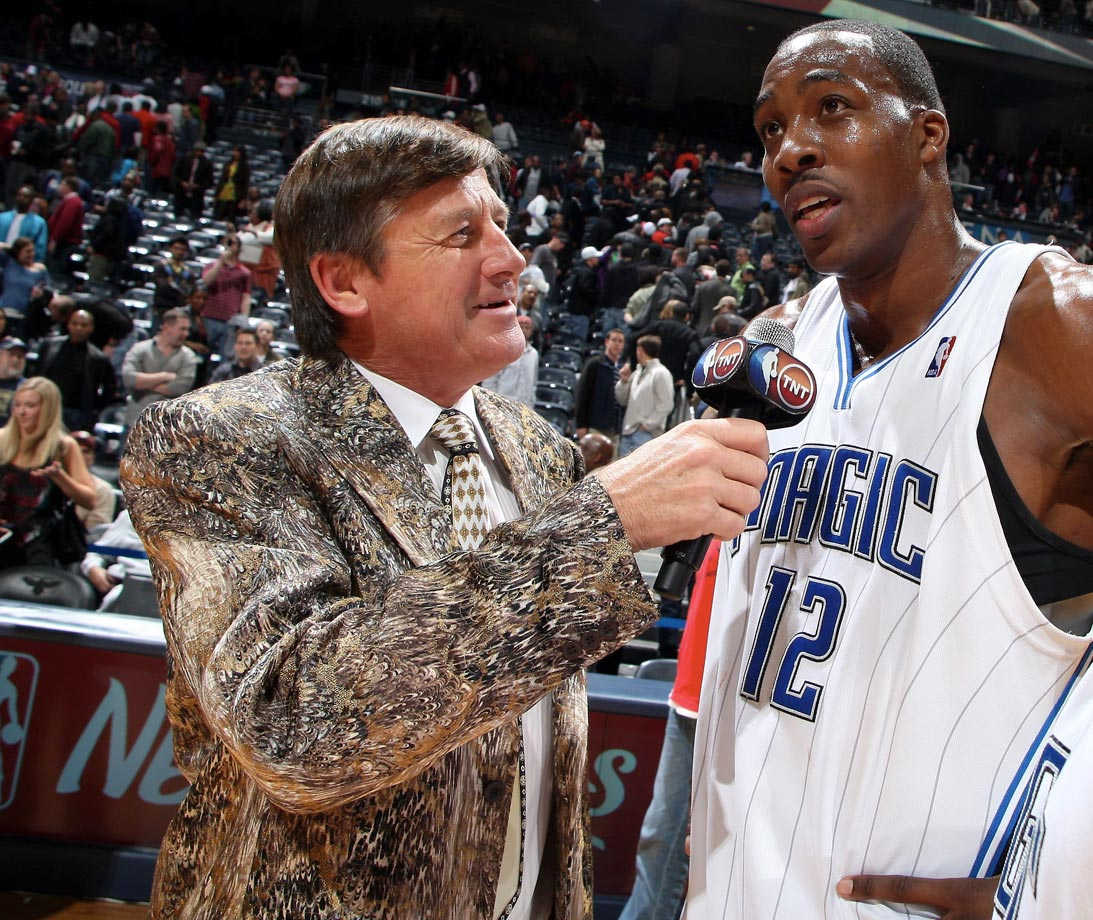Craig Sager interviews Dwight Howard following the Orlando Magic's win over the Atlanta Hawks on Nov. 26, 2009 at Philips Arena in Atlanta.