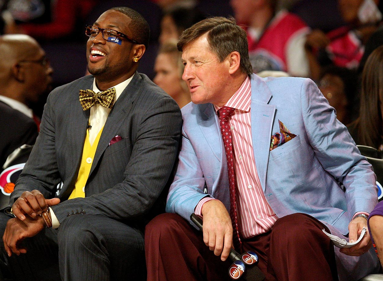Rookie team assistant coach Dwyane Wade laughs alongside Craig Sager during the Rookie Challenge & Youth Jam part of NBA All-Star Weekend on Feb. 13, 2009 at US Airways Center in Phoenix.