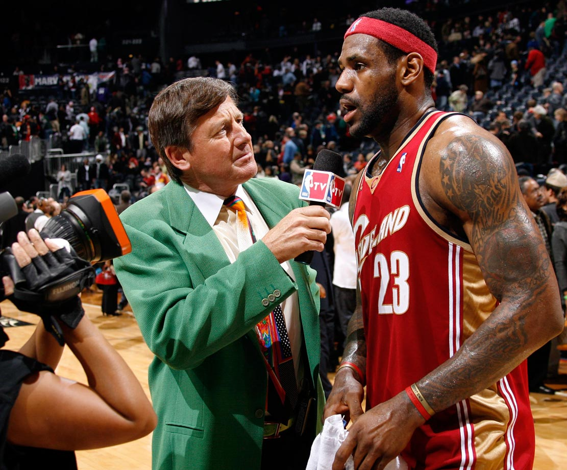 Craig Sager interviews LeBron James following the Cleveland Cavaliers win over the Atlanta Hawks on Dec. 29, 2009 at Philips Arena in Atlanta.