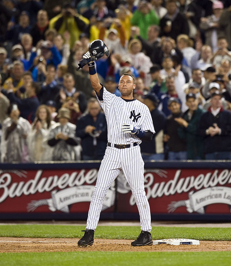 In the first season at new Yankee Stadium, Jeter broke Lou Gehrig's 72-year-old record for the most hits in Yankees history with hit number 2,722, a ground-ball through the left side off Orioles rookie Chris Tillman leading off the third inning.