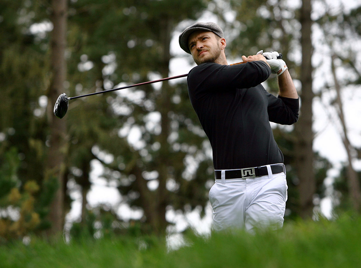 Justin Timberlake hits a tee shot on the seventh hole during the first round of the AT&T Pebble Beach National Pro-Am at the Spyglass Hill Golf Course in Pebble Beach, Calif., on Feb. 12, 2009.