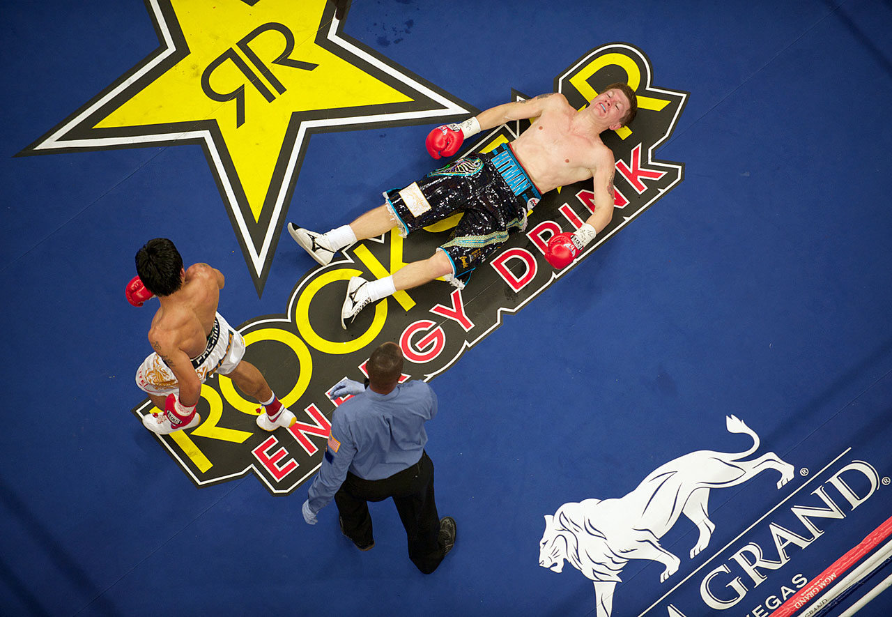 In a bout billed as ''The Battle of East and West,'' Hatton went south. The British hope was knocked down by Pacquiao twice during the first round, and again in the second to lose by KO at the MGM Grand in Las Vegas on May 2, 2009.