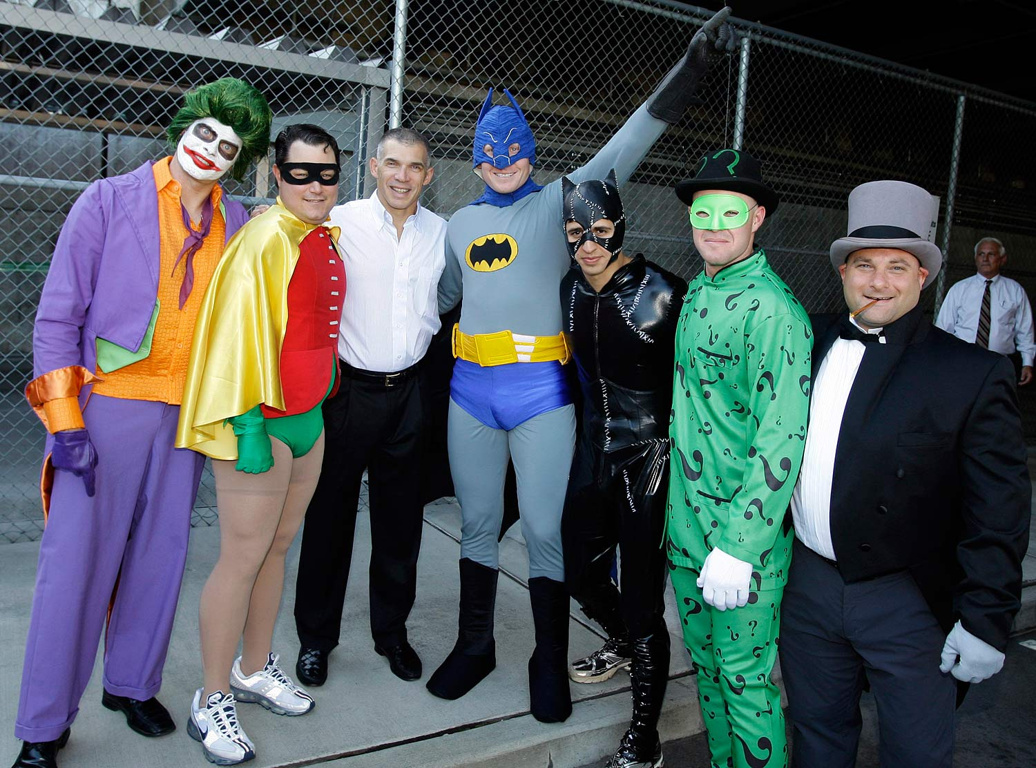 Radar gun operator Brett Weber as the Joker, video coordinator Anthony Flynn as Robin, pitcher Mark Melancon as Batman, manager Joe Girardi, shortstop Ramiro Pena as Catwoman, pitcher Michael Dunn as the Riddler, and massage therapist Lew Potter as the Penguin.