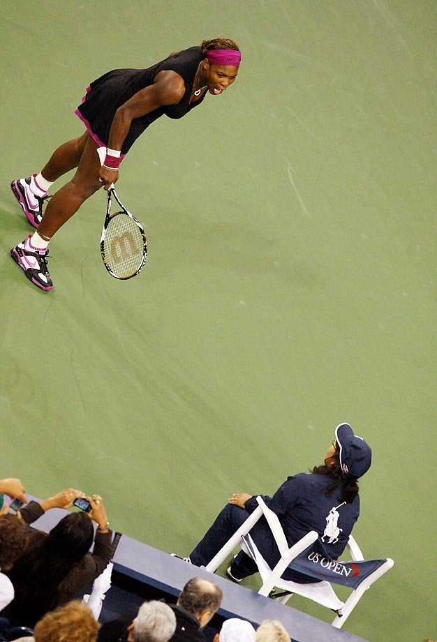 Serena Williams was fined a Grand Slam-record $175,000 (later reduced to $82,500) and given a suspended two-year ban from the U.S. Open after her 2009 tirade at the New York tournament (pictured). She was told that the ban would take effect if she committed any further major offense before the end of 2011. The tennis superstar received a $2,000 fine, but no suspension, for verbally abusing the chair umpire during a loss to Samantha Stouser in the 2011 U.S. Open final.