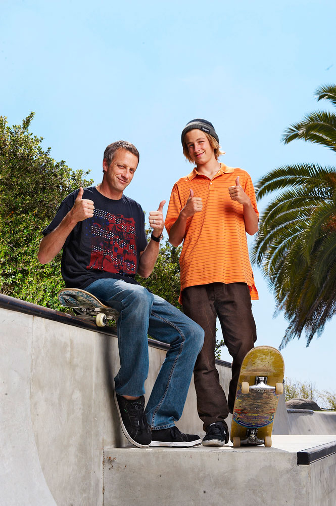 Portrait of Tony Hawk and his son Riley in Encinitas, CA.