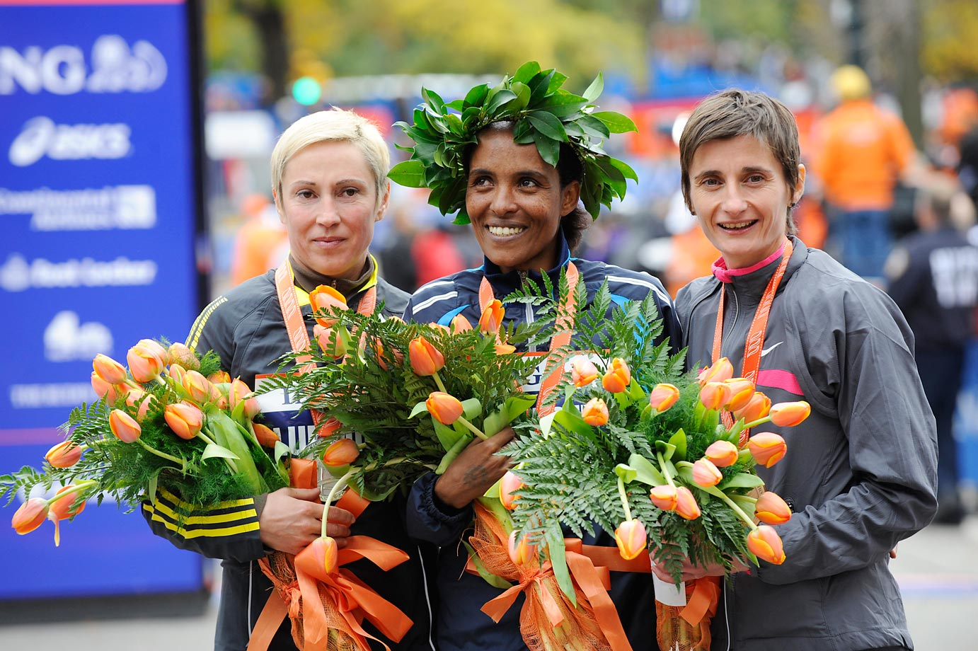 The top three finishers in the women's division, from left: Ludmila Petrova (2nd, 02:29:00) of Russia;  Derartu Tulu ( 1st, 02:28:52) of Ethiopia; and Christelle Daunay (3rd, 02:29:16) of France.