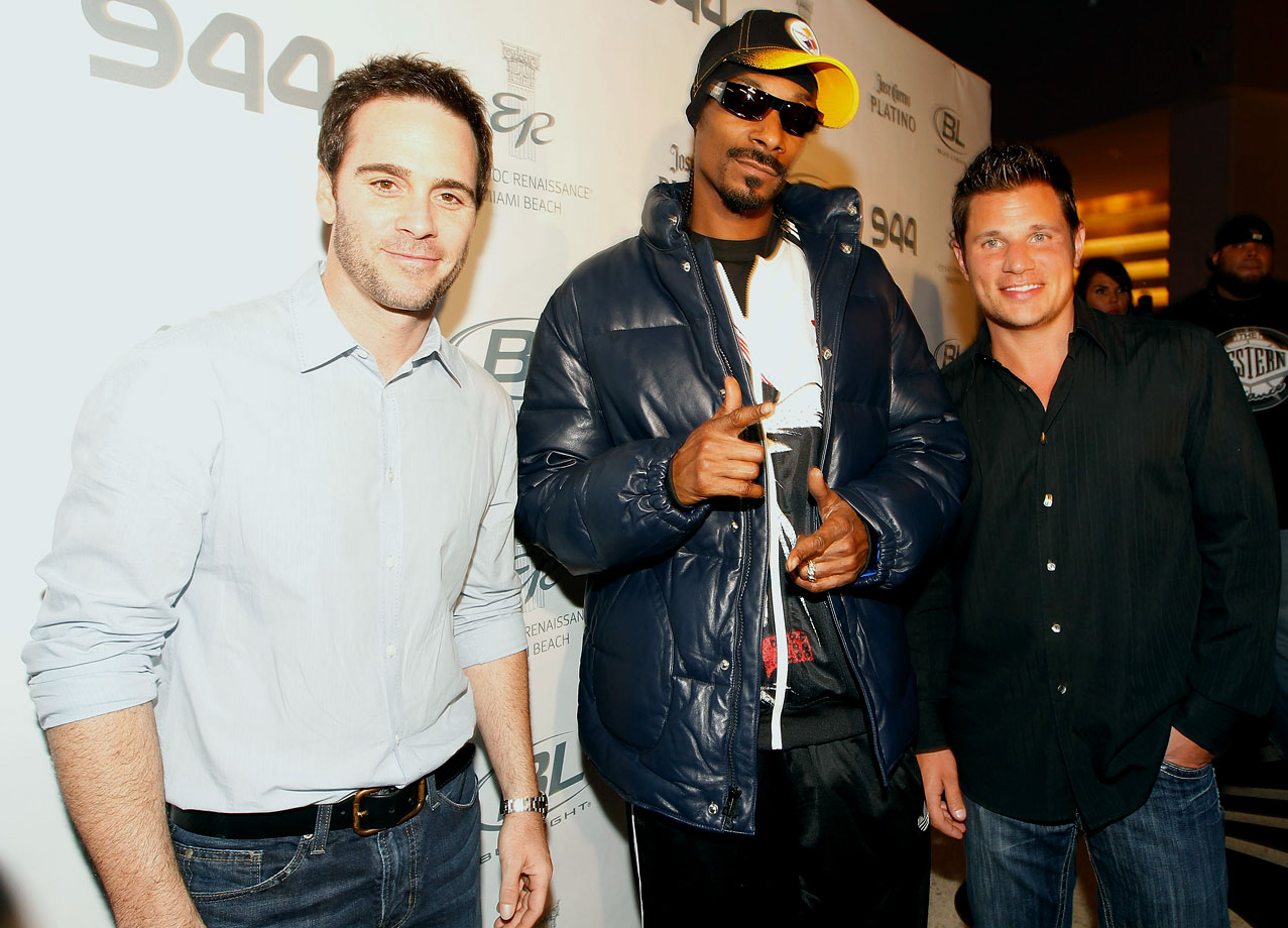 Jimmie Johnson, Snoop Dogg and Nick Lachey attend the Super Skins Kick Off Party at Hotel 944 featuring Snoop Dogg at The Eden Roc Renaissance Miami Beach on Feb. 4, 2010 in Miami.