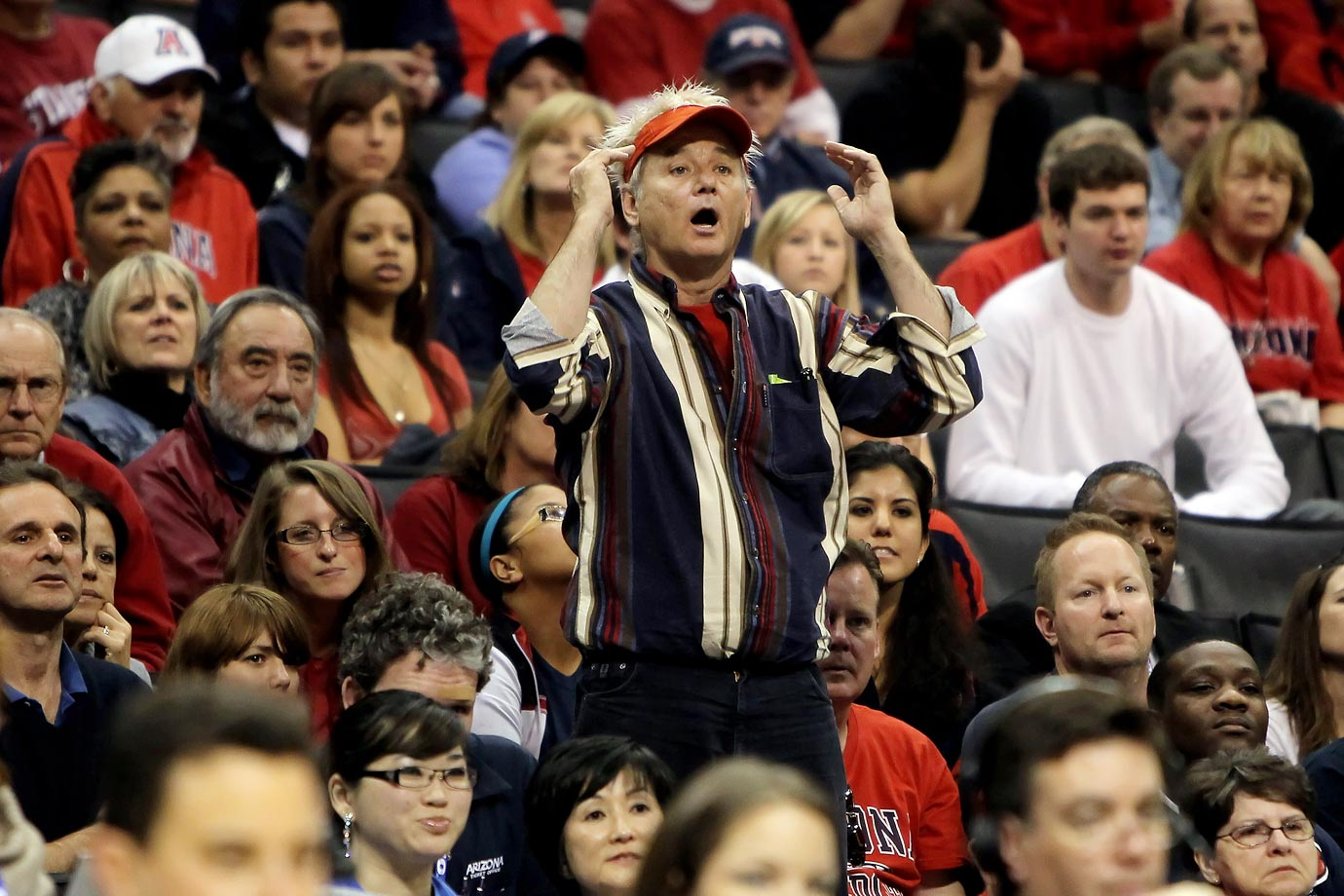 Bill Murray reacts during the Pac-10 Basketball Tournament quarterfinals between the Arizona Wildcats and the UCLA Bruins on March 11, 2010 at Staples Center in Los Angeles.