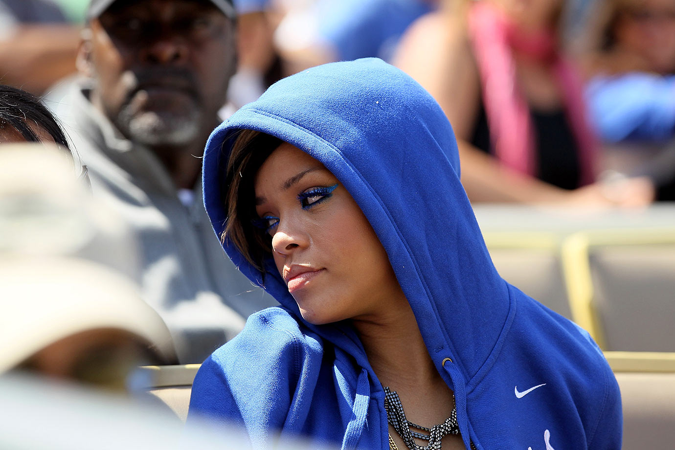 Rihanna attends the Los Angeles Dodgers game against the Arizona Diamondbacks on April 13, 2010 at Dodger Stadium in Los Angeles.