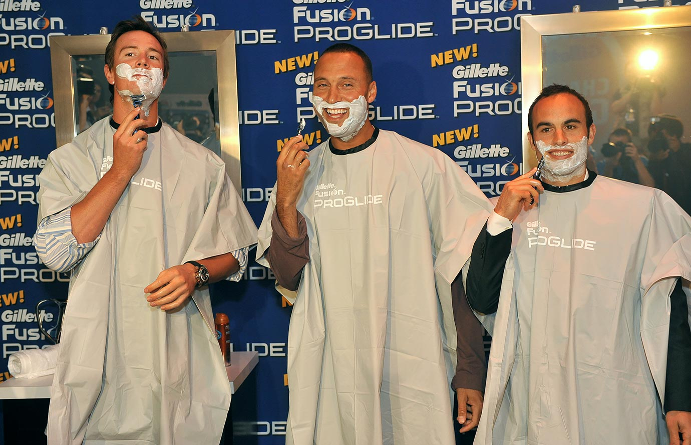 Matt Ryan, Derek Jeter and Landon Donovan helped launch a new razor with a ceremonial first shave in New York City.