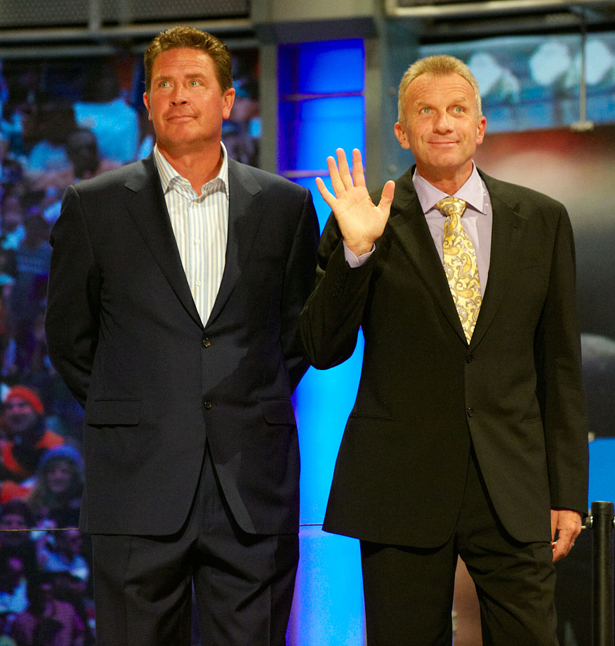 Dan Marino and Joe Montana stand together during the NFL Draft at Radio City Music Hall in New York City on April 22, 2010.