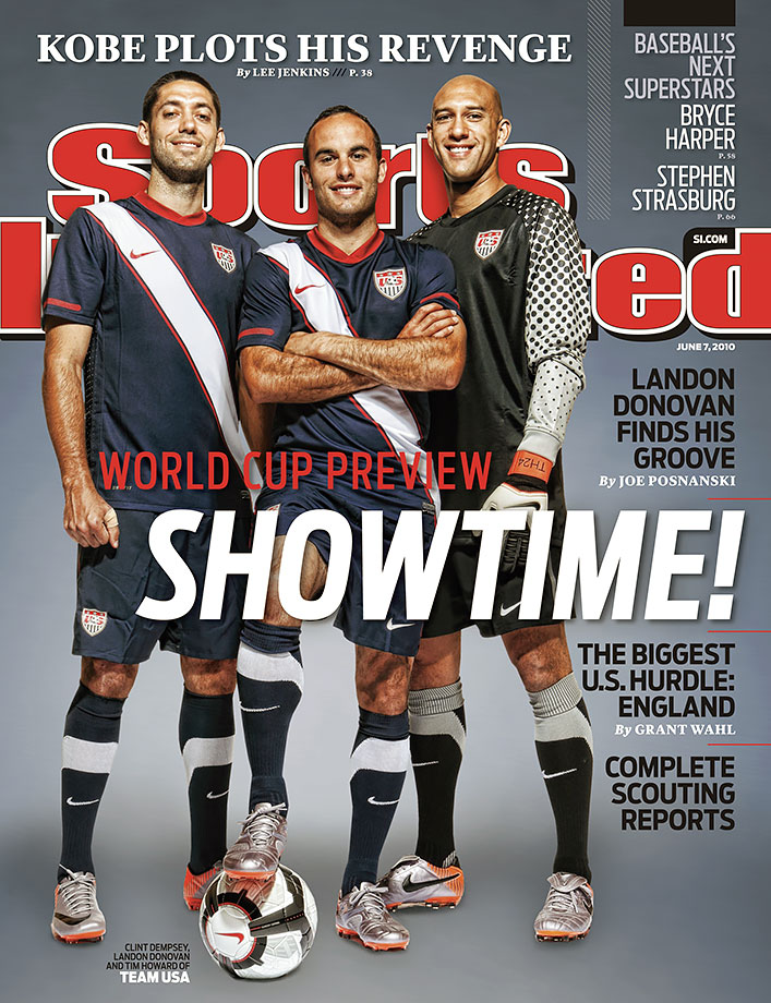 Landon Donovan poses with Clint Dempsey and Tim Howard on the cover of Sports Illustrated prior to the start of the 2010 World Cup.