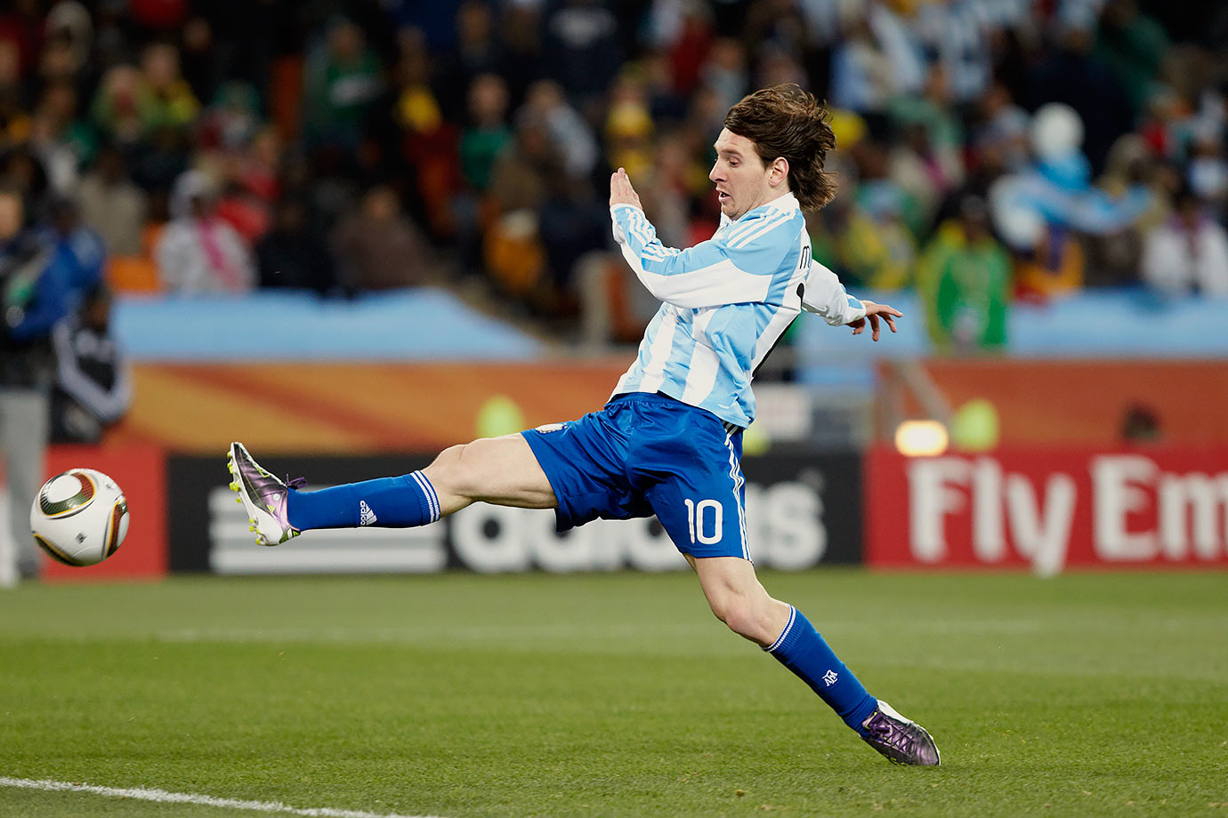Argentina's Lionel Messi plays the ball during the FIFA World Cup Round of 16 match against Mexico on June 27, 2010 at Soccer City Stadium in Johannesburg, South Africa.