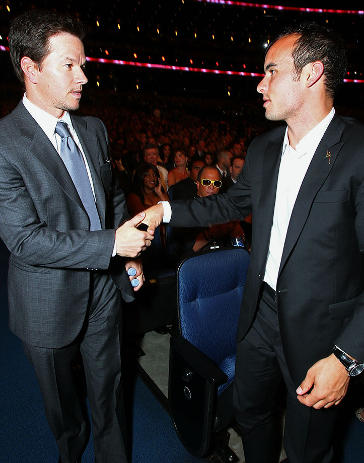 Mark Wahlberg shakes hands with Landon Donovan at the 2010 ESPY Awards in Los Angeles.