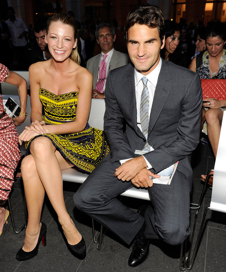 Blake Lively and Roger Federer attend Fashion's Night Out: The Show at Lincoln Center on Sept. 7, 2010 in New York City.