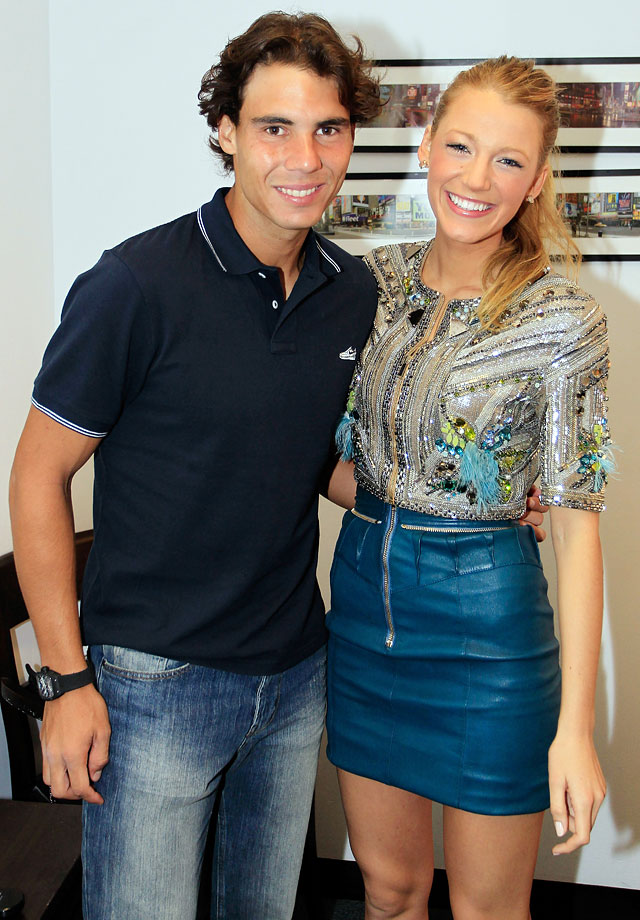 "Rafael Nadal poses with Blake Lively prior to his appearance on ""Live! with Regis and Kelly"" on Sept. 14, 2010 in New York City."