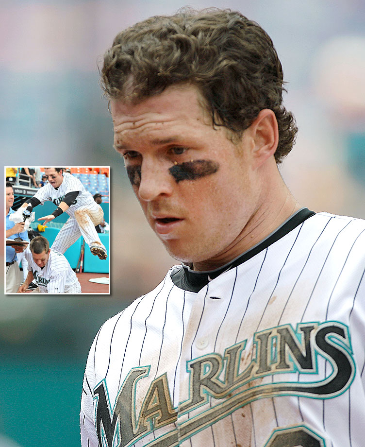 The Marlins' outfielder tore the meniscus in his left knee while smashing teammate Wes Helms with pie after his walk-off single on July 25, 2010.